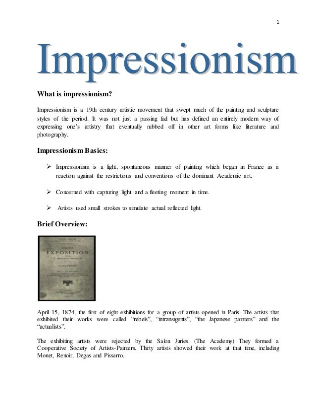 1 What is impressionism? Impressionism is a 19th century artistic movement that swept much of the painting and sculpture s...