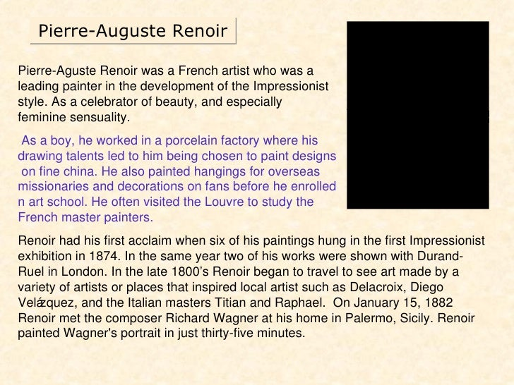An analysis of the topic of pierre auguste renoir during the 19th century