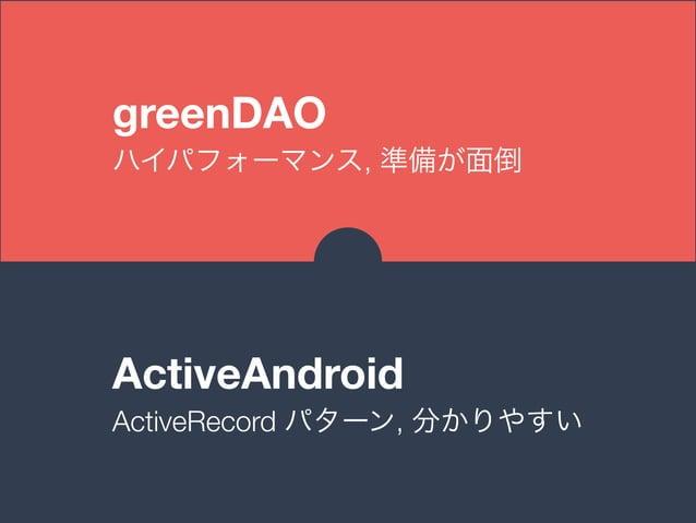 greenDAO ハイパフォーマンス, 準備が面倒 ActiveAndroid ActiveRecord パターン, 分かりやすい