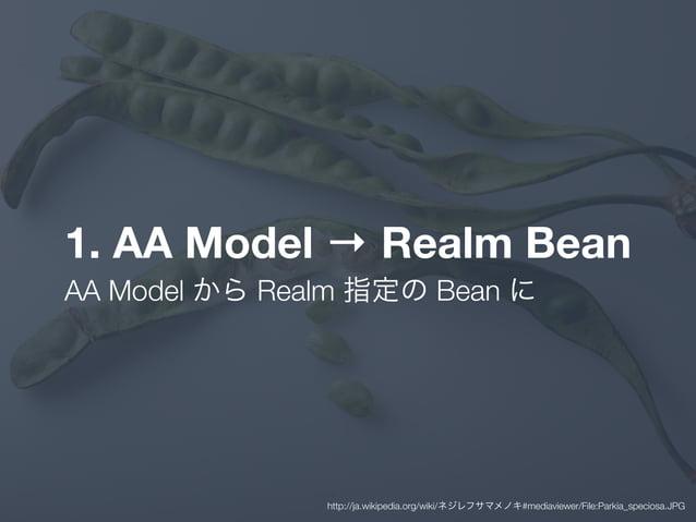 1. AA Model → Realm Bean AA Model から Realm 指定の Bean に http://ja.wikipedia.org/wiki/ネジレフサマメノキ#mediaviewer/File:Parkia_speci...