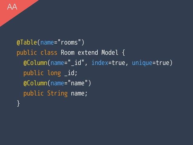 "AA @Table(name=""rooms"") public class Room extend Model { @Column(name=""_id"", index=true, unique=true) public long _id; @Co..."