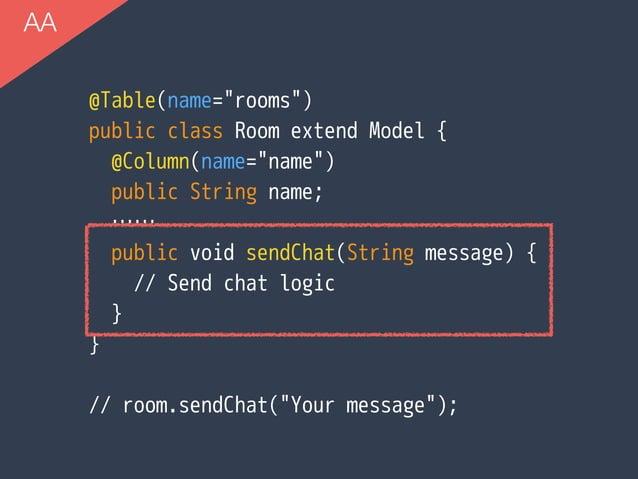 "@Table(name=""rooms"") public class Room extend Model { @Column(name=""name"") public String name; …… public void sendChat(St..."