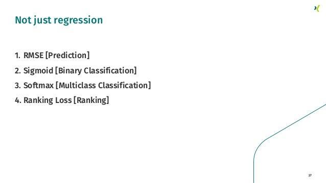 27 1. RMSE [Prediction] 2. Sigmoid [Binary Classification] 3. Softmax [Multiclass Classification] 4. Ranking Loss [Ranking...