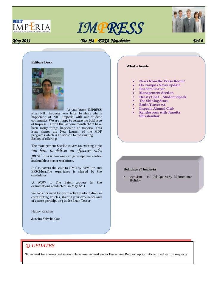 IMPRESSMay 2011                                     The IMP ERIA Newsletter                                               ...