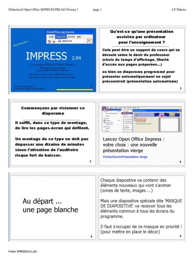 Didacticiel Open Office IMPRESS PREAO Niveau 1 page 1 J.P. Palasse  Fichier IMPRESSniv1.odt
