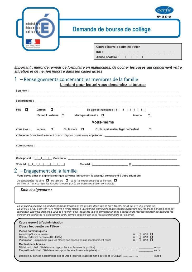 imprim u00e9 dde de bourse coll u00e8ge 2012 2013