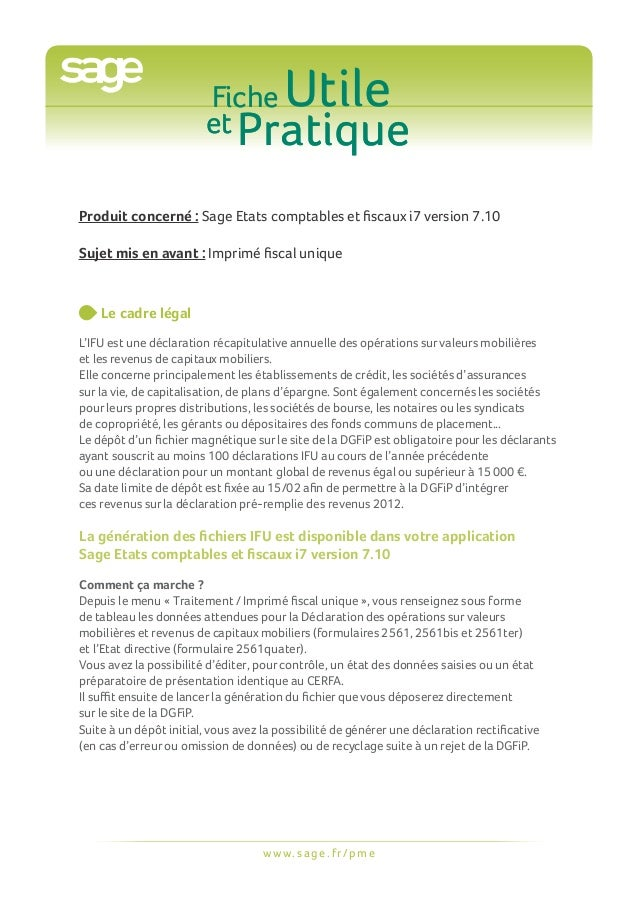 Fiche                         et Pratique                                         UtileProduit concerné : Sage Etats compt...
