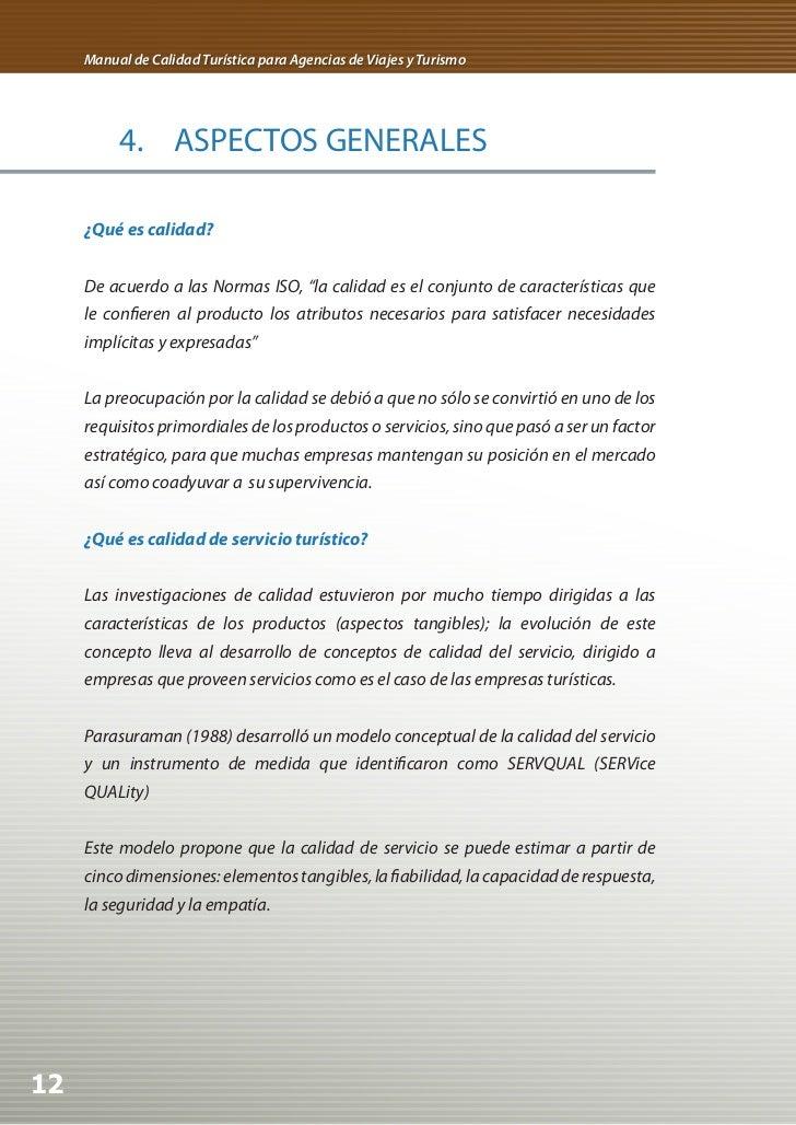 Manual de Calidad Turística para Agencias de Viajes y Turismo          4. ASPECTOS GENERALES     ¿Qué es calidad?     De a...