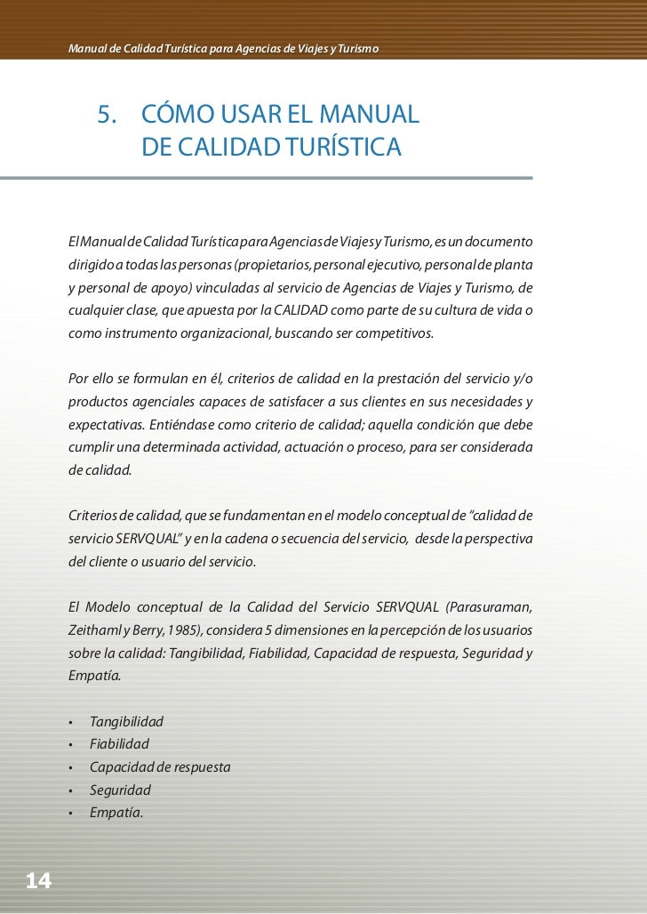 Manual de calidad para agencias de viaje for Manual de restaurante pdf