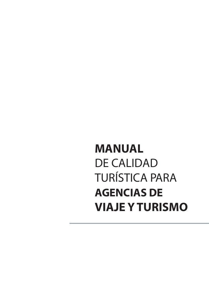 MANUALDE CALIDADTURÍSTICA PARAAGENCIAS DEVIAJE Y TURISMO