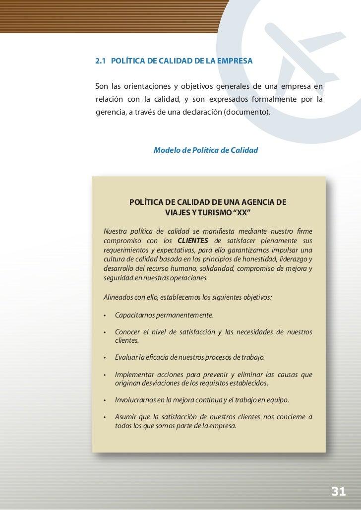 Manual de Calidad Turística para Agencias de Viajes y Turismo          2.2 CRITERIOS DE CALIDAD EN RELACIÓN A LAS DIFERENT...