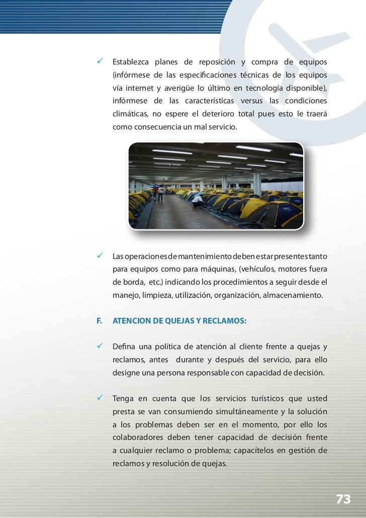 Manual de Calidad Turística para Agencias de Viajes y Turismo                 Aplique técnicas para solución de quejas y...
