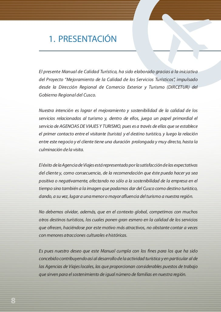 Manual de Calidad Turística para Agencias de Viajes y Turismo                  1. PRESENTACIÓN             El presente Man...