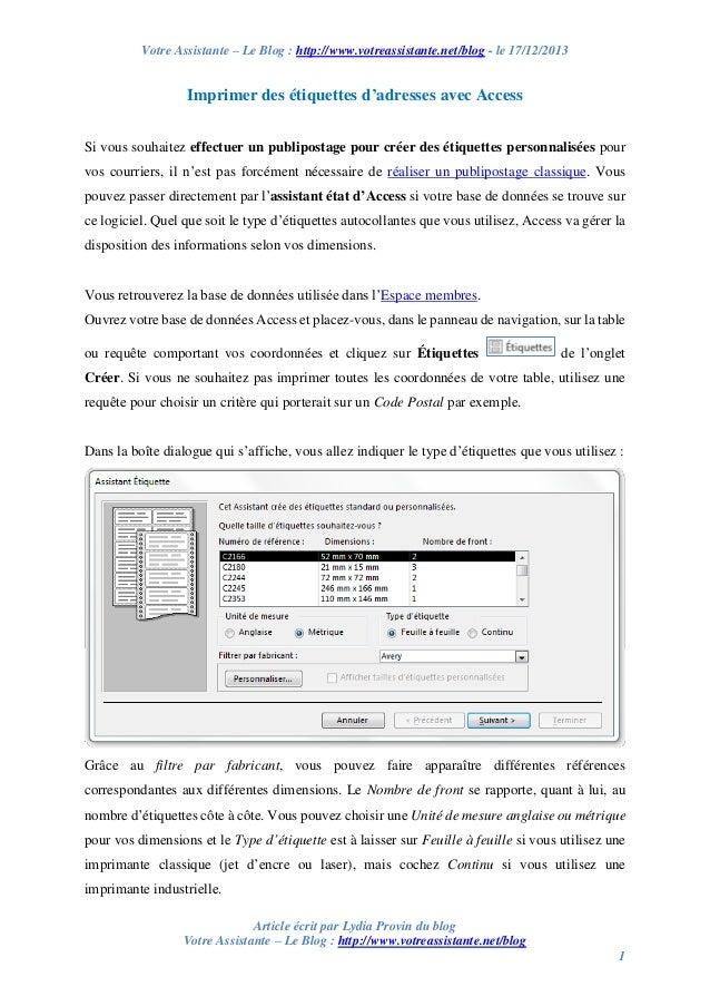 Votre Assistante – Le Blog : http://www.votreassistante.net/blog - le 17/12/2013  Imprimer des étiquettes d'adresses avec ...