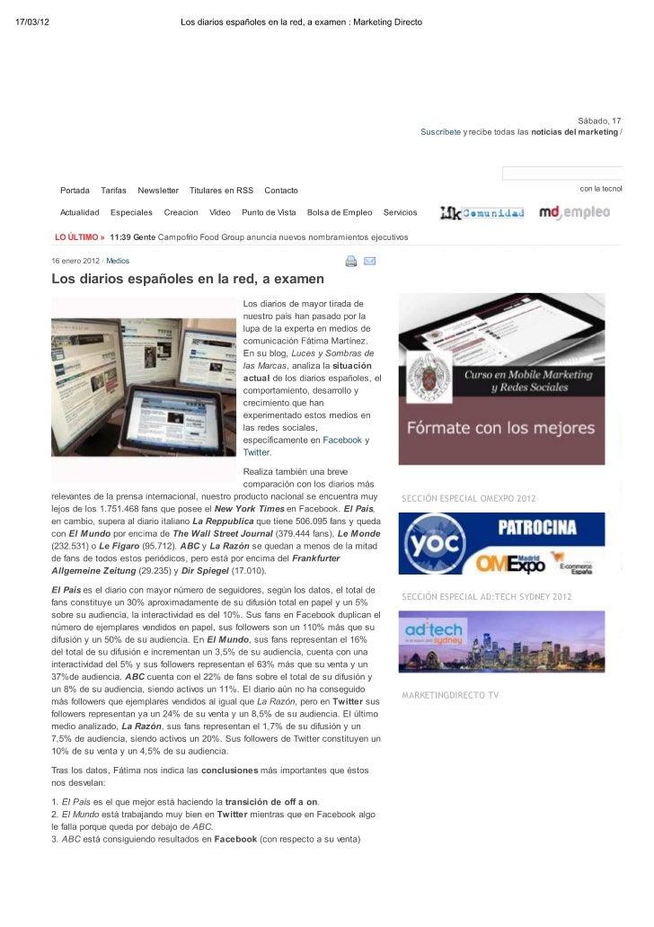 Los Diarios Españoles en la red a examen