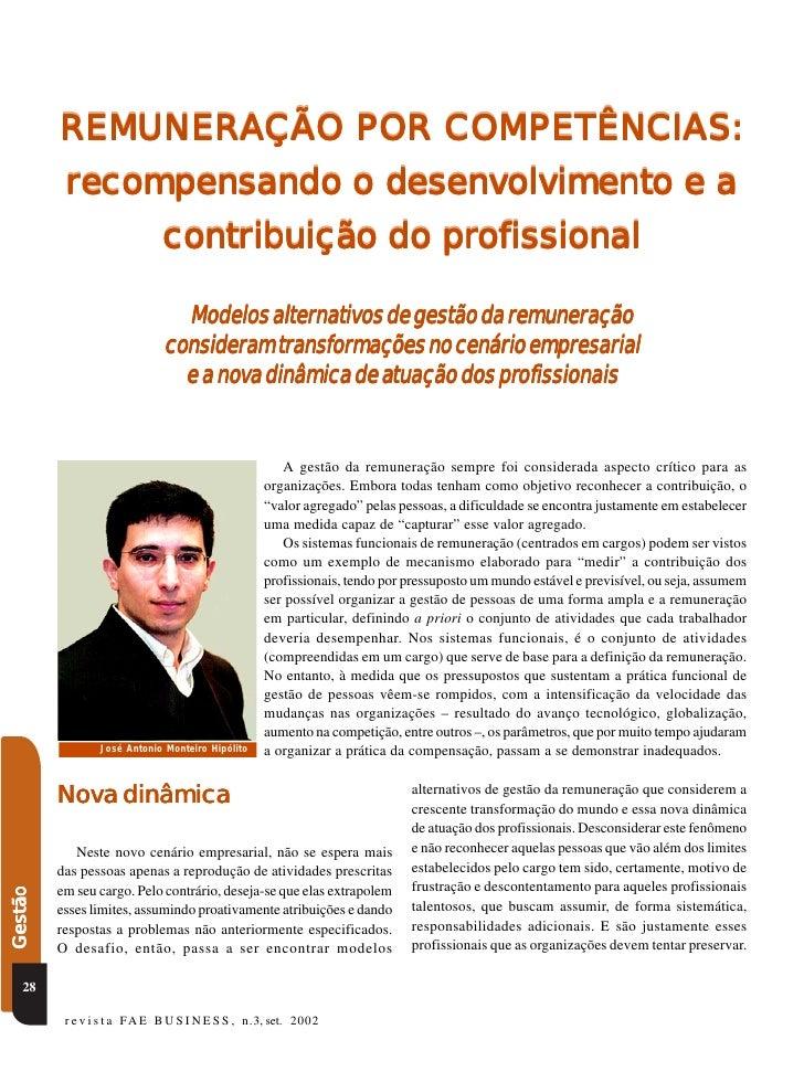 REMUNERAÇÃO POR COMPETÊNCIAS:                         desenv         recompensando o desenvolvimento e a                  ...