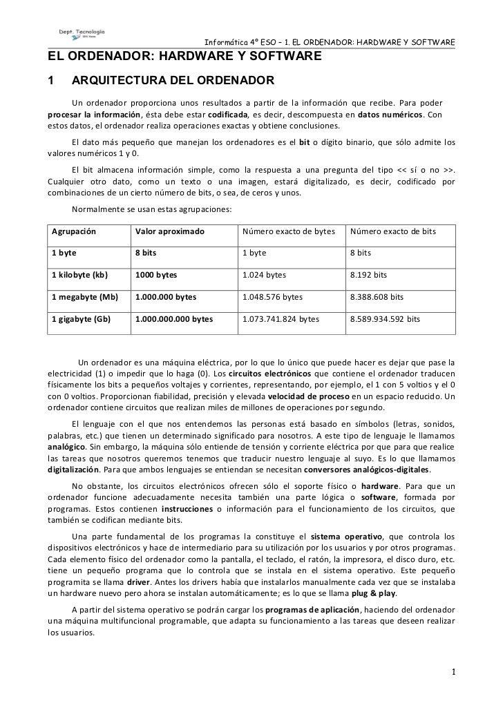 Informática 4º ESO – 1. EL ORDENADOR: HARDWARE Y SOFTWAREEL ORDENADOR: HARDWARE Y SOFTWARE1     ARQUITECTURA DEL ORDENADOR...
