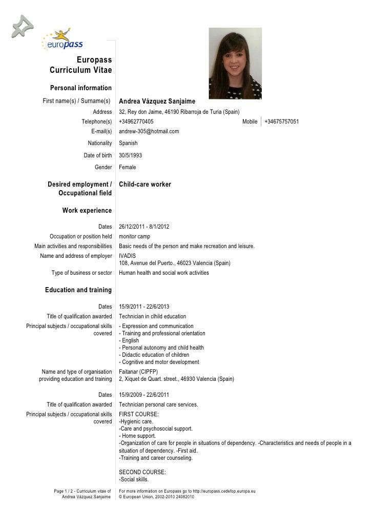 curriculum vitae europass engleza completat