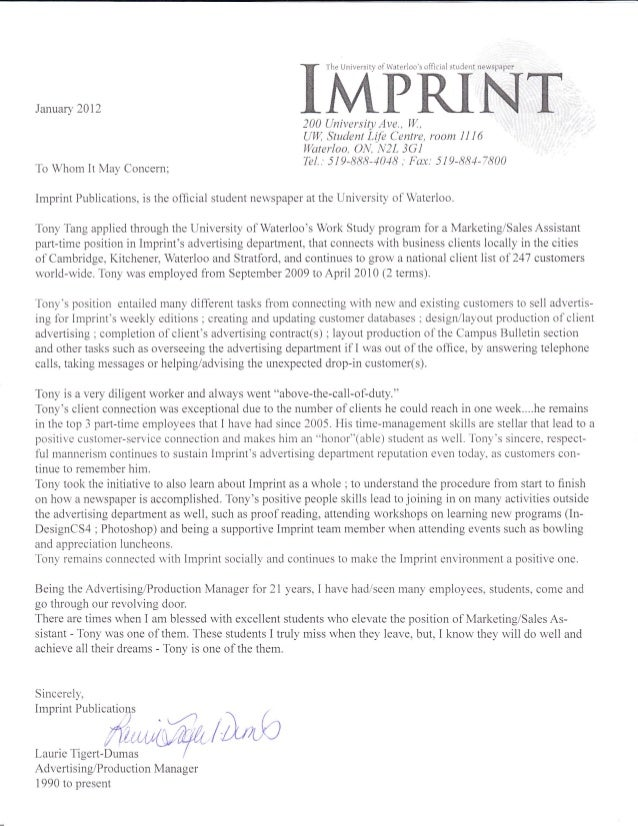 Imprint reference letter from advertising production and operations gtutprrrtjanuary 2012to whom it may concern200 universiq ave w spiritdancerdesigns Images