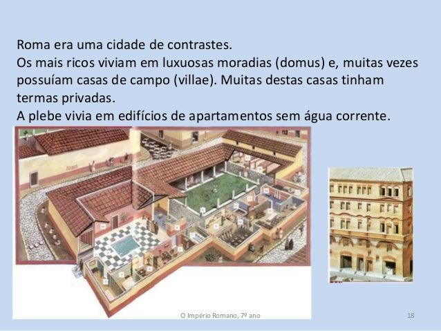Roma era uma cidade de contrastes. Os mais ricos viviam em luxuosas moradias (domus) e, muitas vezes possuíam casas de cam...