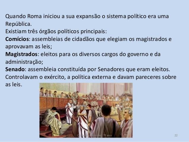 Quando Roma iniciou a sua expansão o sistema político era uma República. Existiam três órgãos políticos principais: Comíci...