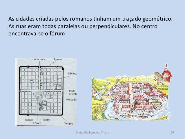 As cidades criadas pelos romanos tinham um traçado geométrico. As ruas eram todas paralelas ou perpendiculares. No centro ...