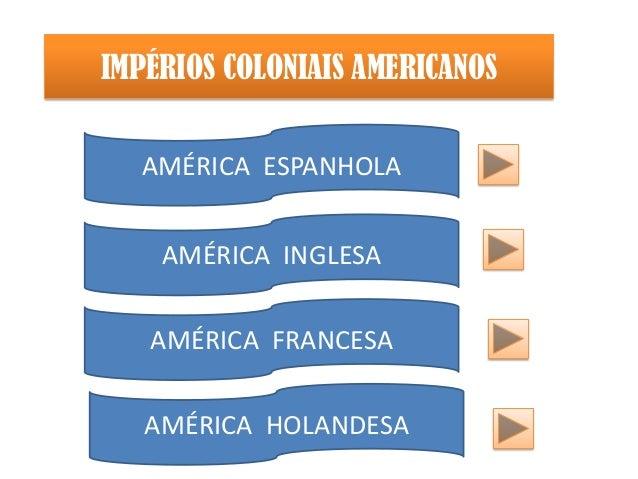 AMÉRICA ESPANHOLAAMÉRICA INGLESAAMÉRICA FRANCESAAMÉRICA HOLANDESAIMPÉRIOS COLONIAIS AMERICANOS