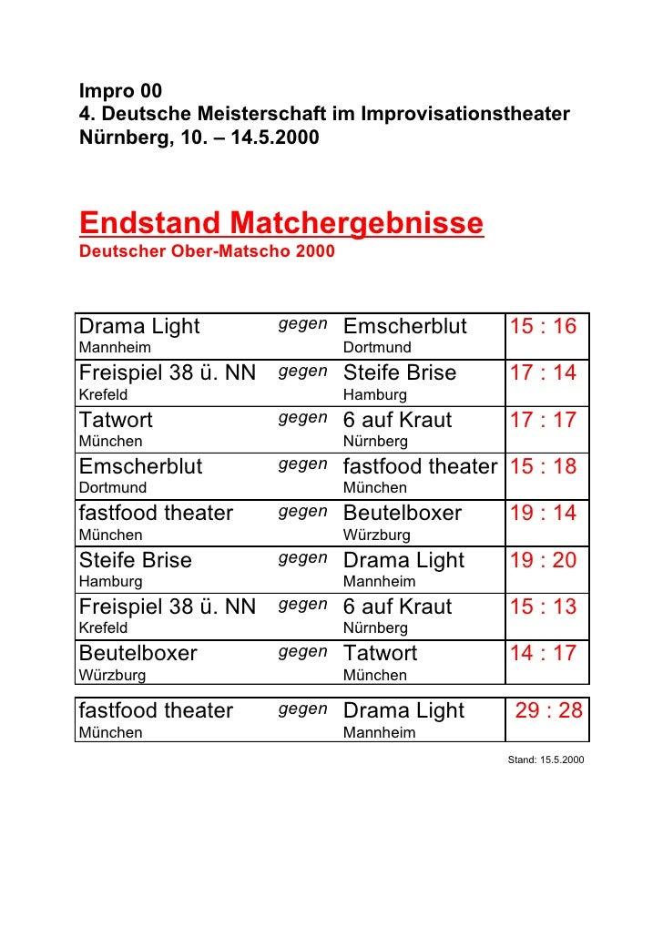 Impro 004. Deutsche Meisterschaft im ImprovisationstheaterNürnberg, 10. – 14.5.2000Endstand MatchergebnisseDeutscher Ober-...