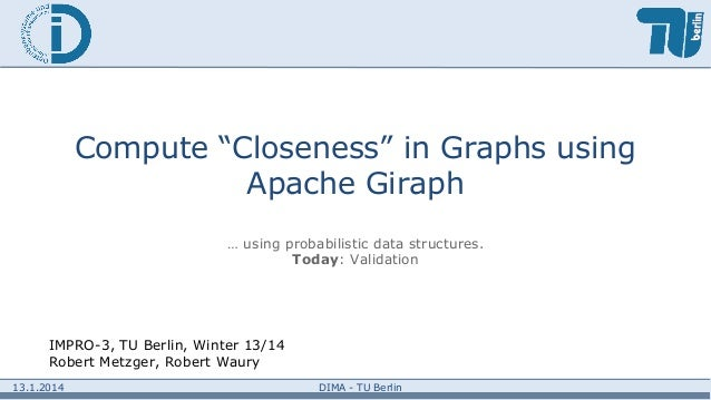 """Compute """"Closeness"""" in Graphs using Apache Giraph … using probabilistic data structures. Today: Validation  IMPRO-3, TU Be..."""