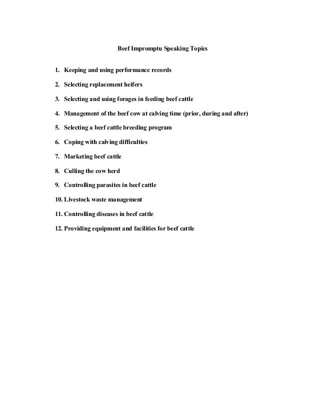 topics designed for extemporaneous speech