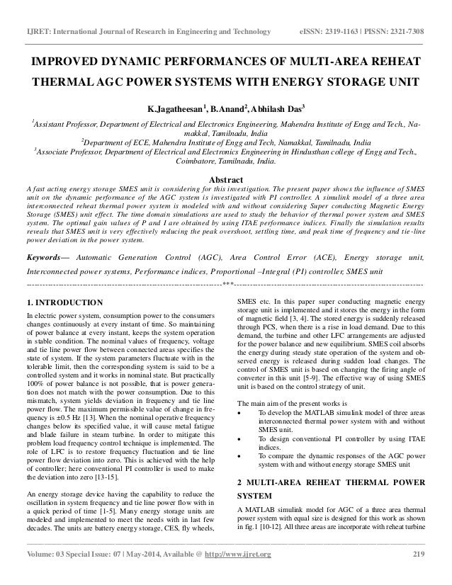 ... power systems with energy storage unit. IJRET International Journal of Research in Engineering and Technology eISSN 2319-1163 ...  sc 1 st  SlideShare & Improved dynamic performances of multi area reheat thermal agc power u2026