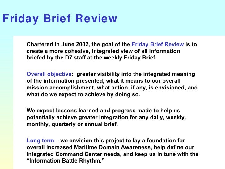 Improved Friday Commanders Brief - Proposed - by Joel Magnussen 2002