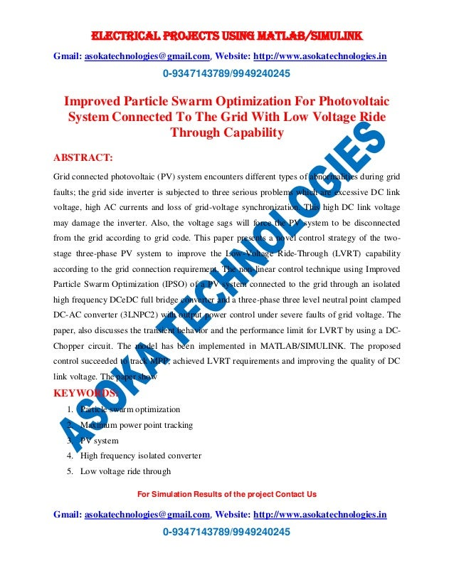 Improved particle swarm optimization for photovoltaic system