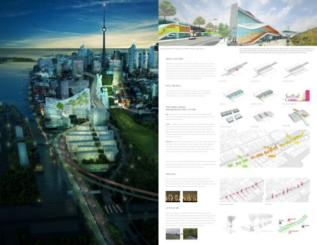 The unused territory between the Gardiner and the rail berm is transformed into a new linear park that celebrates speed. A...