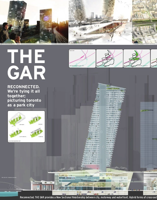 Reconnected. THE GAR provides a New Sectional Relationship between city, motorway and waterfront. Hybrid forms of cross-se...