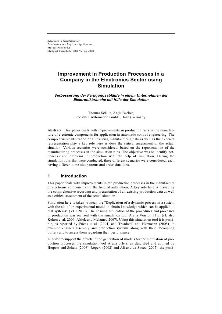 Advances in Simulation for Production and Logistics Applications Markus Rabe (ed.) Stuttgart, Fraunhofer IRB Verlag 2008  ...