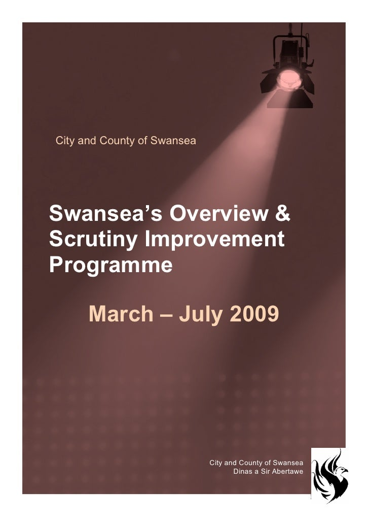 City and County of Swansea     Swansea's Overview & Scrutiny Improvement Programme        March – July 2009               ...