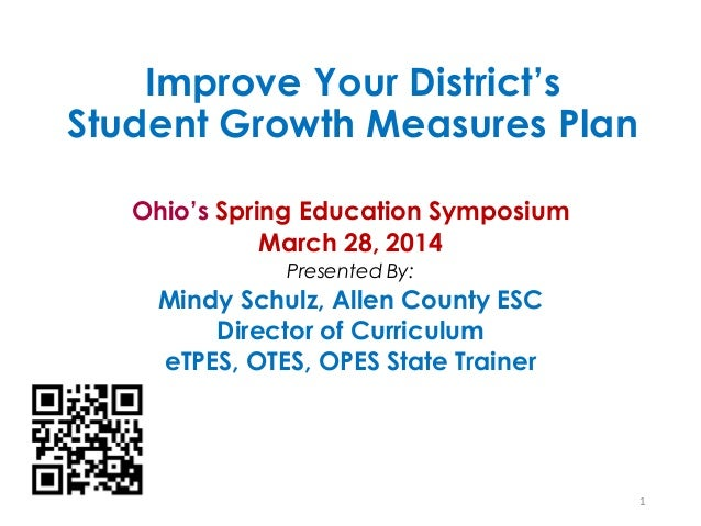 Improve Your District's Student Growth Measures Plan Ohio's Spring Education Symposium March 28, 2014 Presented By: Mindy ...