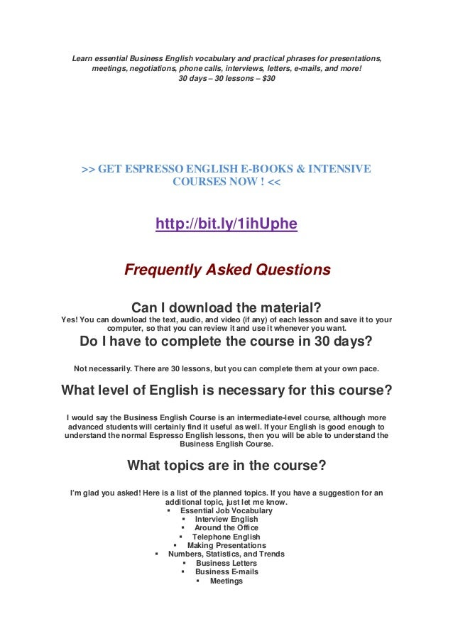 Improve your english espresso english e books intensive courses r 2 learn essential business english fandeluxe Gallery