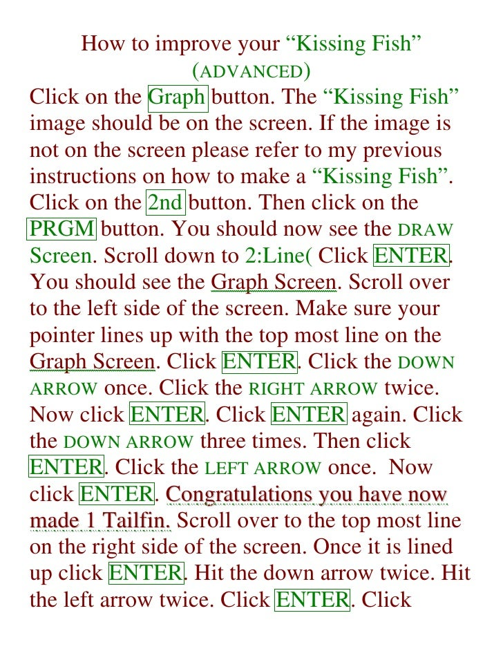 "How to improve your ""Kissing Fish""                     (ADVANCED) Click on the Graph button. The ""Kissing Fish"" image shou..."