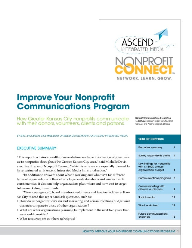 How to Improve Your Nonprofit Communications Program 1 By Eric Jacobson,vice president of Media Development for Ascend Int...