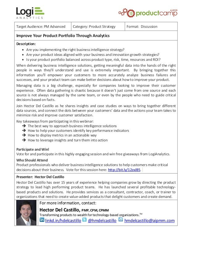 Target Audience: PM Advanced Category: Product Strategy Format: Discussion Improve Your Product Portfolio Through Analytic...