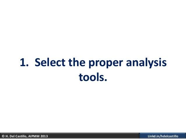 © H. Del Castillo, AIPMM 2013 Linkd.in/hdelcastillo1. Select the proper analysistools.