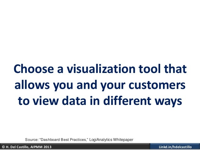 © H. Del Castillo, AIPMM 2013 Linkd.in/hdelcastilloChoose a visualization tool thatallows you and your customersto view da...