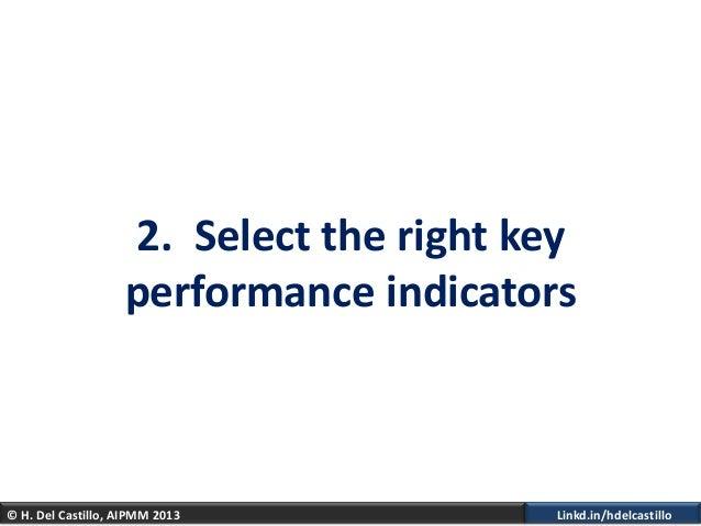 © H. Del Castillo, AIPMM 2013 Linkd.in/hdelcastillo2. Select the right keyperformance indicators