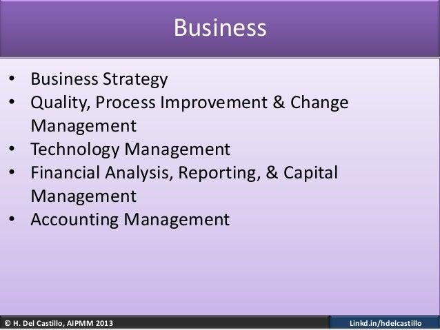 © H. Del Castillo, AIPMM 2013 Linkd.in/hdelcastilloBusiness• Business Strategy• Quality, Process Improvement & ChangeManag...