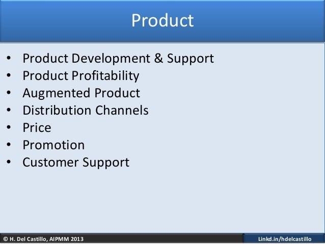 © H. Del Castillo, AIPMM 2013 Linkd.in/hdelcastilloProduct• Product Development & Support• Product Profitability• Augmente...