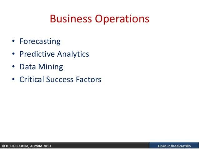 © H. Del Castillo, AIPMM 2013 Linkd.in/hdelcastilloBusiness Operations• Forecasting• Predictive Analytics• Data Mining• Cr...