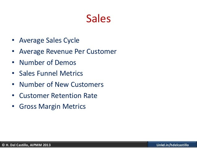 © H. Del Castillo, AIPMM 2013 Linkd.in/hdelcastilloSales• Average Sales Cycle• Average Revenue Per Customer• Number of Dem...