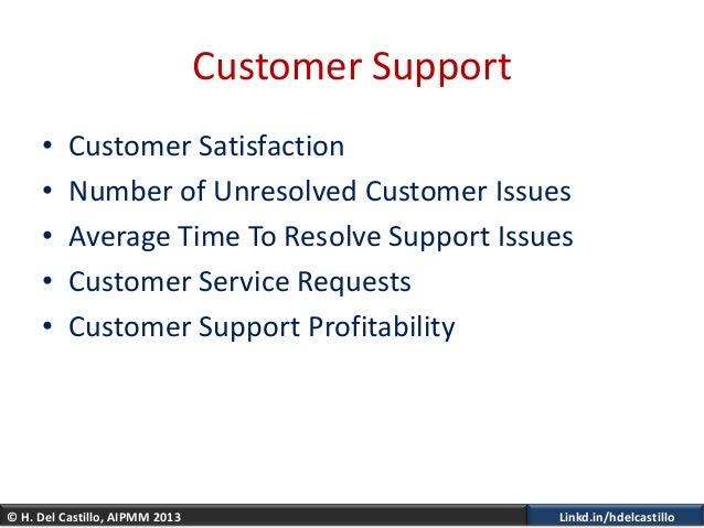 © H. Del Castillo, AIPMM 2013 Linkd.in/hdelcastilloCustomer Support• Customer Satisfaction• Number of Unresolved Customer ...